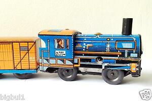 60's Vintage TIN Friction Wind-Up TOY Classic Express Train Hungary w/ Key Blue