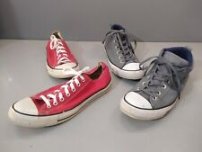 Lot of 2 Pairs Converse All Star Red low top & Gray Leather High Top Sz. MENS 10