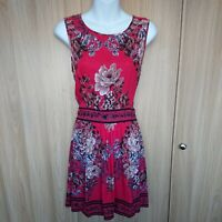 Angie Red Black Floral Sequined Open Back Waist Fit&Flare Dress Size M Fit 10/12