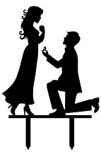 Acrylic Silhouette Proposal Couple Cake Topper