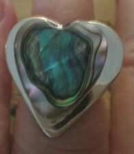 size 8 Sterling Silver 10 gram Lg 28x26mm Heart shape Abalone Ring