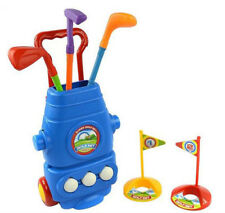 Kid Golf Cart Set with 3 Clubs 2 Holes 3 Balls Hand-held Tensile Handle for Baby