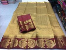 PartyWear Double Peacock Sari Wedding Indian Beige Printed Tussar Silk Saree