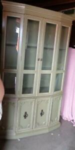 Gorgeous Contemporary China Cabinet with Storage - VGC - COUNTRY GREEN FINISH