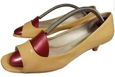 SIZE US 8 1/2 M WOMAN DELMAN SHOES SLINGBACK PATENT LEATHER BEIGE YELLOWISH PUMP