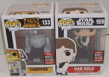 NEW FUNKO POP Star Wars CELEBRATION Hot Topic HAN SOLO & CHOPPER Exclusives MIMB