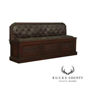 Antique Victorian Walnut Long Hall Bench with Storage Seat
