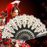 Black Spanish Style Dance Party Wedding Lace Silk Folding Hand Held Flower Fan N