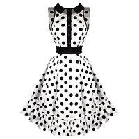 Hearts & Roses London White Polka Dot Vintage 50s Prom Swing Flared Dress UK