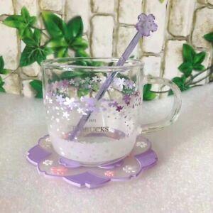 Starbucks Purple Sakura Glass W/Coaster&Stir rod Coffee Mug Cup Limited Edition