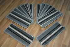 14 Striped Open Plan Carpet Stair Treads Funky Silver 008 14 Large Pads!