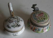 Antique / Old Two Porcelain Jar or Container --  Italian renaissance Scene & UK
