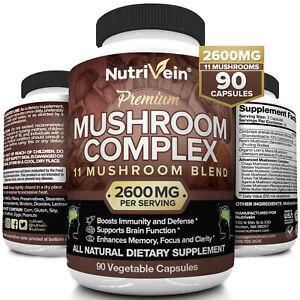 Nutrivein Mushroom Supplement 2600mg - 90 Capsules - 11 Blend Lions Mane Reishi