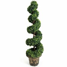 4-Feet Artificial Boxwood Spiral Green Leaves Tree