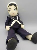 Antique Handmade Folk Art Cloth Sailor Boy Doll Nora Wellings Era Linen & Wool
