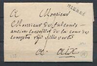1788 Lettre Marque Lenain N°2 HIERES 23mm VAR(78). Indice 16. Superbe X2743