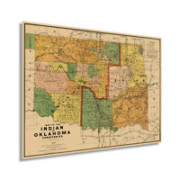 1892 Map of the Indian and Oklahoma Territories Vintage Wall Art Poster Print