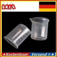 2/10 Stücke Kunststoff Messbecher 100ml Labor Küche Transparent Leicht DE