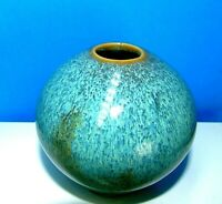 "Handmade  3 1/4"" Art Pottery Weed Pot Round Ball Vase Blue Glaze Signed MINT!"