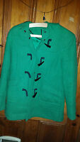 LADIES VINTAGE RETRO ? DOROTHY PERKINS GREEN COAT WITH HOOD SIZE 8