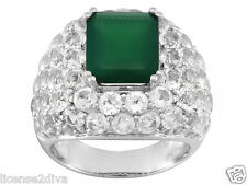 STERLING SILVER EMERALD CUT GREEN ONYX & WHITE TOPAZ RING! SIZE 7! NEW!FREE SHIP