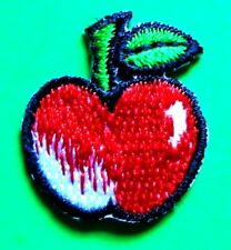 apple iron on patch applique 7/8 x 1 inch