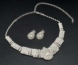White Diamante Crystal Earrings Necklace Set Party Wedding Bridal Jewelry