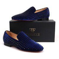 Men FERUCCI Blue Velvet Slippers Loafers Flat With Black Spikes Rivet
