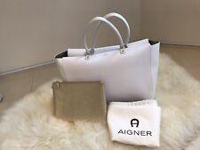 Neuwertiger AIGNER SHOPPER /Damenhandtasche  weiß/gold  Echtleder NP 699