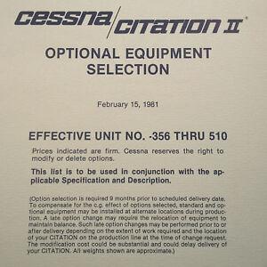 "Original 1981 Citation II ""Optional Equipment"" Sales Brochure,10 page, 8.5 x 11"""