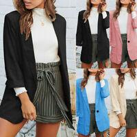 Fashion Womens Blazer Long Sleeve Open Front Fit Office Cardigan Jacket Coats