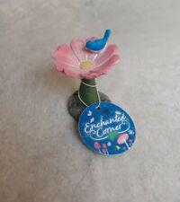 Rustic Floral Flower Bird Bath Fairy Elf Gnome Garden Enchanted Corner New Tags