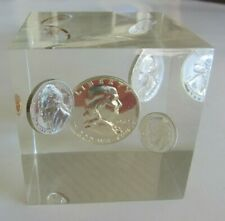 Very Nice Vintage & Collectible 1962 United States Proof Set Lucite Paperweight