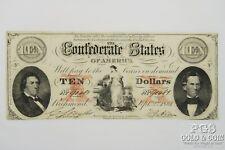 1861 Confederate States of America $10 Richmond Civil War Era Currency Note19386