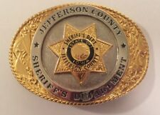 Sheriff's Department Belt Buckle Jefferson County Iowa Gold & Silver Color 1989