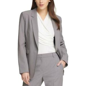 DKNY Womens Gray One-Button Long Sleeve One-Button Blazer Top 12 BHFO 7365