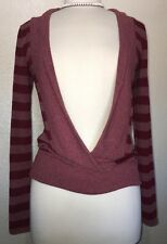 Chris & Carol Maroon Red Stripe Long Sleeve Thin Pullover Sweater Low Cleavage M