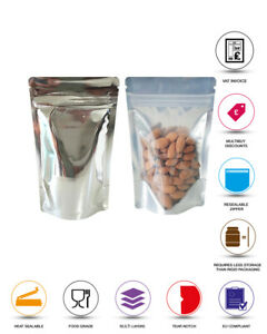 ONE SIDE CLEAR SILVER SHINY STAND UP POUCH BAGS SEALABLE POUCH ZIP LOCK