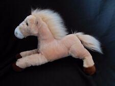 "Aurora Floppy White Face Tan & Brown Horse Stuffed Animal Lovey Plush 12"" x 10"""