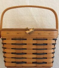 """Longaberger 10"""" Heartland Medium Leather Hinged Lid Basket w/ Toggle 6 1/2"""" tall"""