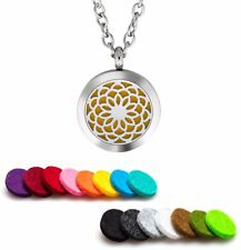 Aromatherapy Essential Oil Diffuser Necklace Pendant Stainless Steel Sunflower