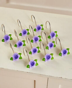 Set of 12 Shower Curtain Hooks Cassidy Purple Flower Floral Bath Home Decor