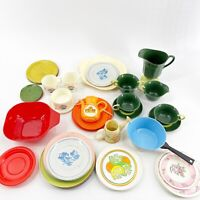Large Lot of 47 pcs of Vintage Children's Plastic & Tin Kitchen Play Toy Dishes