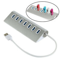 7 Port Aluminum USB 3.0 HUB 5Gbps High Speed AC Power Adapter For PC/Laptop Mac