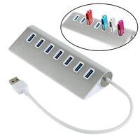 7 Port Aluminum USB 3.0 HUB 5Gbps High Speed AC Power Adapter For PC/Laptop/Mac