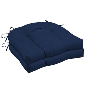 20 in. x 18 in. Sapphire Leala Texture Rectangle Outdoor Seat Cushion (2-Pack)