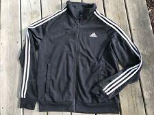 Adidas men's essential 3 stripe Tricot track jacket black/ white sz. Medium