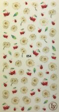 Nail Art 3D Decal Stickers White Daisy Flowers & Cherries LY054
