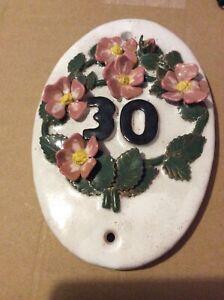 Number 30 unique Door number plate Handcrafted bespoke ceramic floral dog roses