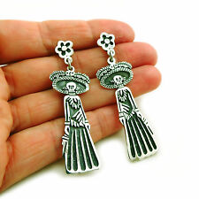 Mexico Day of the Dead 925 Sterling Taxco Silver Catrina Maria Belen Earrings